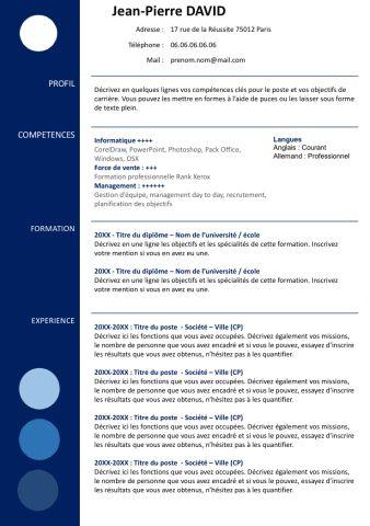 73 exemples de CV Modernes à télécharger | Créer un CV
