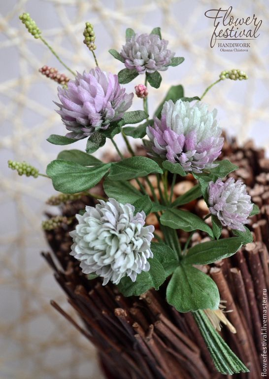 """Silk flowers. Цветы ручной работы. Ярмарка Мастеров - ручная работа Оксаны Чистовой. Клевер """"Летнее счастье"""" - бутоньерка/брошь из шелка. Handmade."""