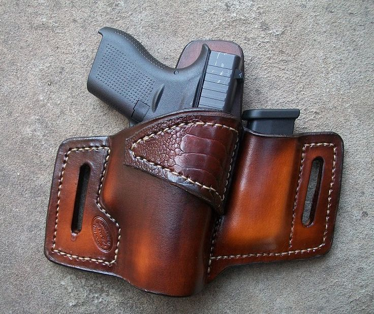 This is a custom handmade OWB+Mag/Glock 42 holster with Exotic Support Strap. It comes in either Black/brown and for the right/left hand. It can be made with a tsnap as well. Typcial OWB+Mag does not come with exotic Support Strap