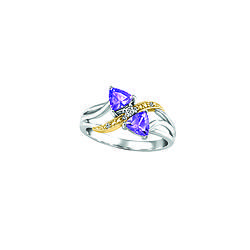 Two Tone White And Yellow Gold Ring With Diamond Purple Tanzanite Canadian Fire Ice
