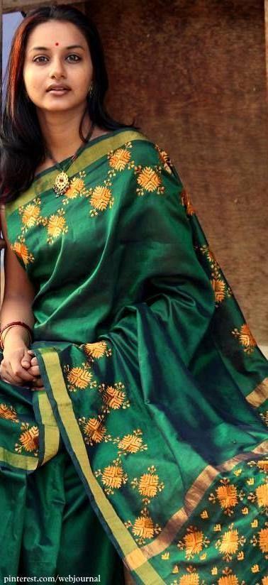 Handwoven cotton silk with Phulkari from handsofindia
