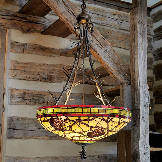 Rustic chandeliers burgundy pinecones inverted chandelier for Log cabin chandelier