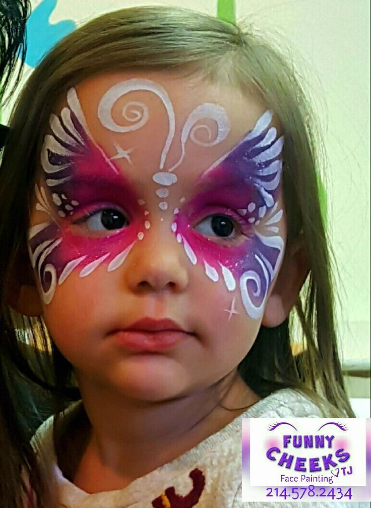 Butterfly Face Painting fun by Funny Cheeks Dallas for Wee Volunteer
