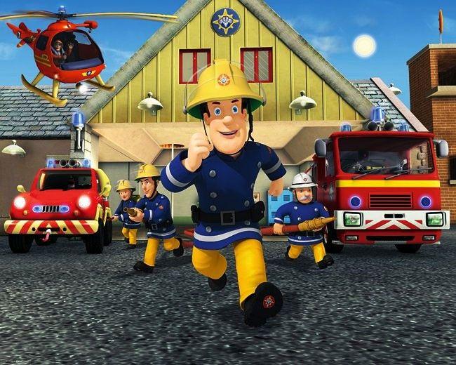 Walltastic Fototapete Wandbild Fireman Sam Feuerwehrmann Sam