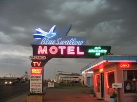 The Blue Swallow Motel is located at 815 East Route 66 Blvd. in Tucumcari, NM. Visitors can still spend the night at the motel. Call 575-461-9849 for rates or visit the motel's website.
