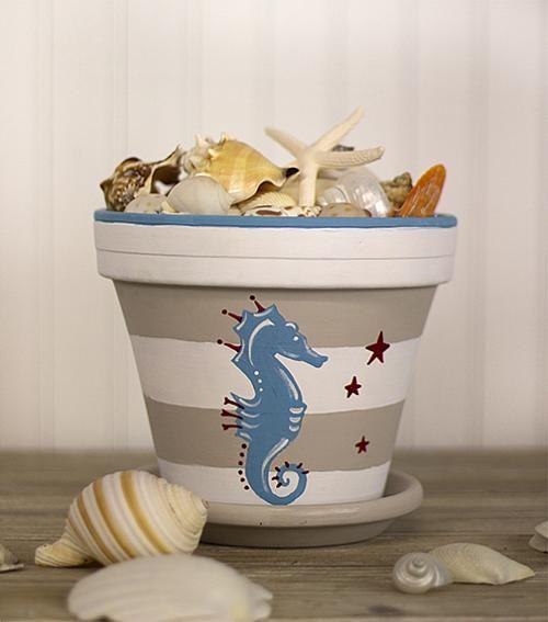 Nautical Seahorse Terra Cotta Pot -- Make a nautical themed terra cotta pot @homedepot @michaelsstores @decoart #chalkpaint #chalkyfinish