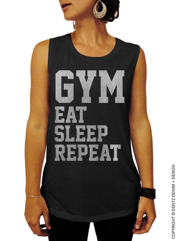 Gym Eat Sleep Repeat - Black with Silver Muscle Tee Tank T-shirt by DentzDenim