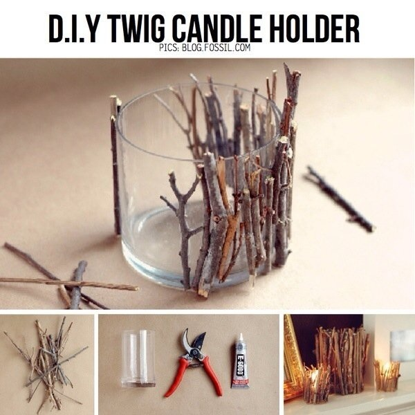 Twig candle holder. Great for fall and Halloween decor. Experiment with metallic gold and silver paint for a chic look