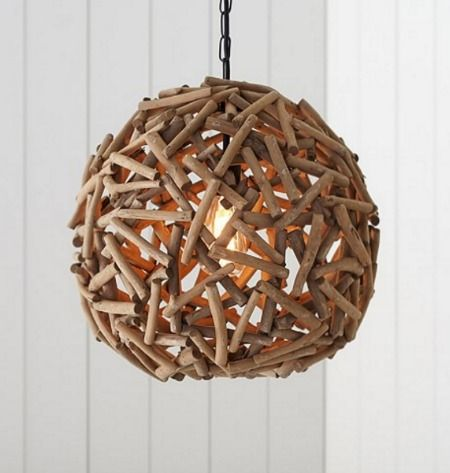 Driftwood Globe Hanging Lamp Pendant: http://www.completely-coastal.com/2014/08/shop-driftwood-lamps.html