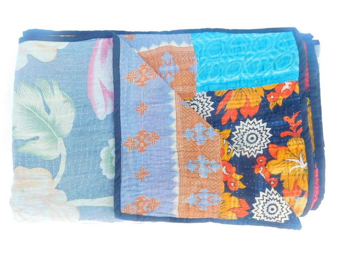Indian Cotton Floral Bedspread Old Kantha Quilt Blanket Reversible Bedding XZ79 #Handmade #AsianOriental