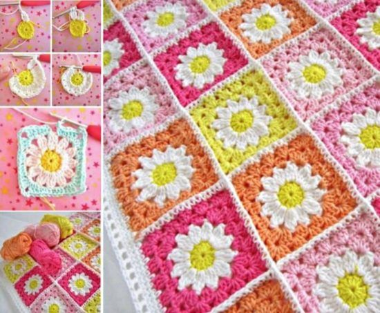 Crochet Daisy Granny Square Blanket Free Pattern | The WHOot