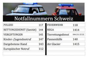 Notfallnummern Schweiz