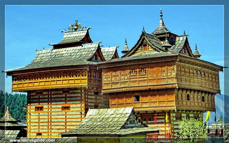 The Bhimakali Temple, dedicated to Goddess Durga in the form of Bhimakali, is one of the famous Hindu shrines in the Himalayan province. Initially, the temple was the worship place of Bushair rulers of Rampur (Shimla).  The temple exhibits fine artwork of Himachali architecture, influenced by Tibetan, Buddhist and Hindu styles of architecture. The Bhimakali shrine features a slanted slate roof, golden towers, pagodas and a carved silver door.