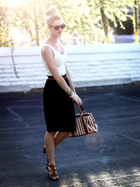 Summertime black and white: Work Clothing, Style, Brown Belts, Summer Work Outfits, Black Skirts, Pencil Skirts, Lace Tanks, Cute Work Outfits, White Tops