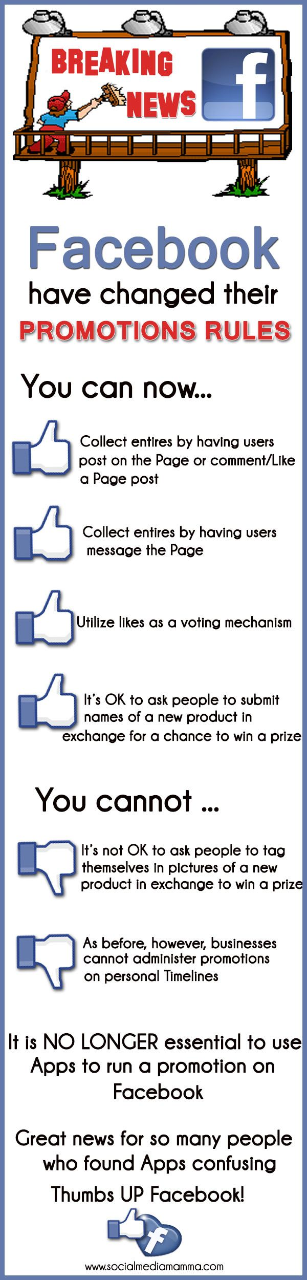 Facebook new rules for promotions contests #infographic Gaynor Parke www.socialmediamamma.com