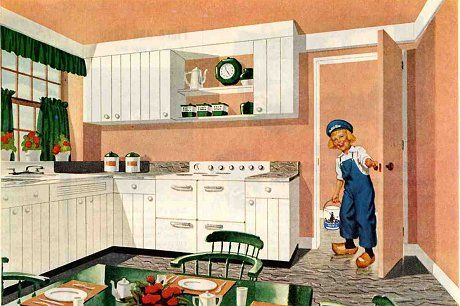 """20 interiors from 1952: The end of the 1940s --- Retro Renovation.    """"Vintage Dutch Boy paint ads have such great color palettes — lots of inspiration here.""""   Mostly Deco / Modern here with a distinctly 1940s (to early 1950s) color scheme, but many of the the personal touches lean toward the old-fashioned Colonial / Early American, especially the curtains and kitchen chairs."""