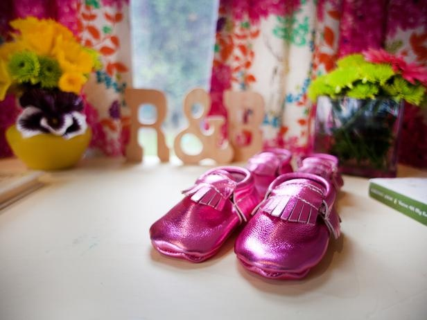 Shiny pink baby shoes add another flash of color.: Duck Again I, Hgtv Kids, Baby Mocs, Pink Baby, Future Kids, Ballerina, Baby Shoes, Kids Rooms, Baby Stuff
