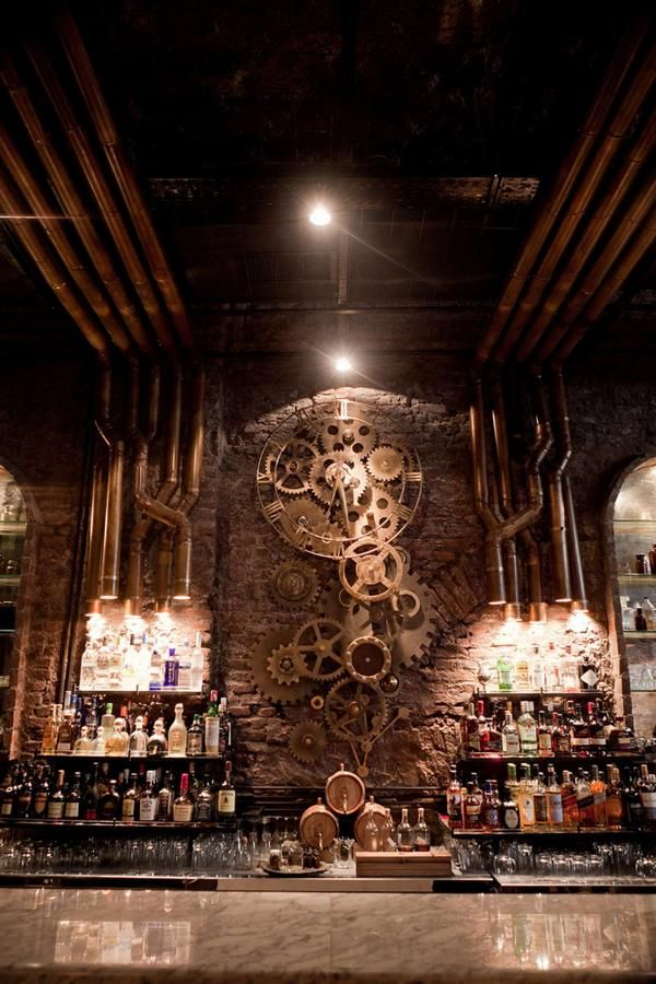 Steampunk back-bar! Victoria Brown Bar, Buenos Aires, Argentine.