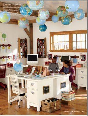 Homeschool room.: Schoolroom, Classroom, Ceiling, Globes, Homeschool Room, Room Ideas, Desk, Kid, Rooms
