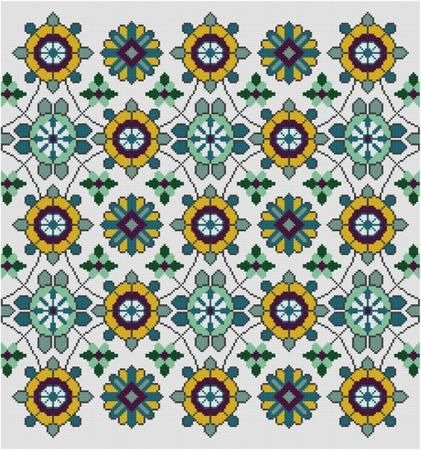 Floral Rug Repeating Design Cross Stitch pattern PDF  Blue and Yellow