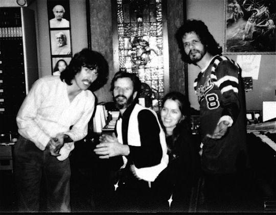 George, Ringo, Al Kooper and Barbara Bach at FPSHOT during the recording of All Those Years Ago. [Photos belong to Al Kooper].