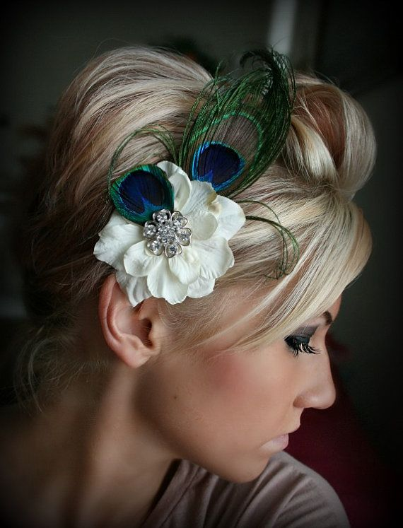 Peacock Feather Floral Hair Clip, Wedding Headpiece, Rhinestone, Crystal, Accessories, Bridal, Wedding, Hair Accessory