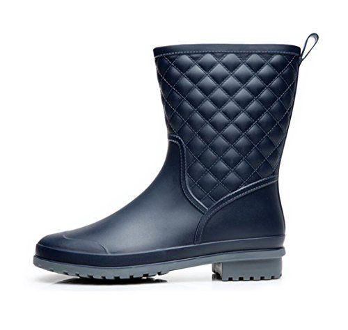 Jenssa Womens Fashion Matte Color Antiskid Mid Calf Rain Boots Shoes 6 Navy -- Visit the image link more details.