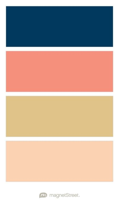 Navy, Coral, Gold, and Peach Wedding Color Palette - custom color palette created at MagnetStreet.com