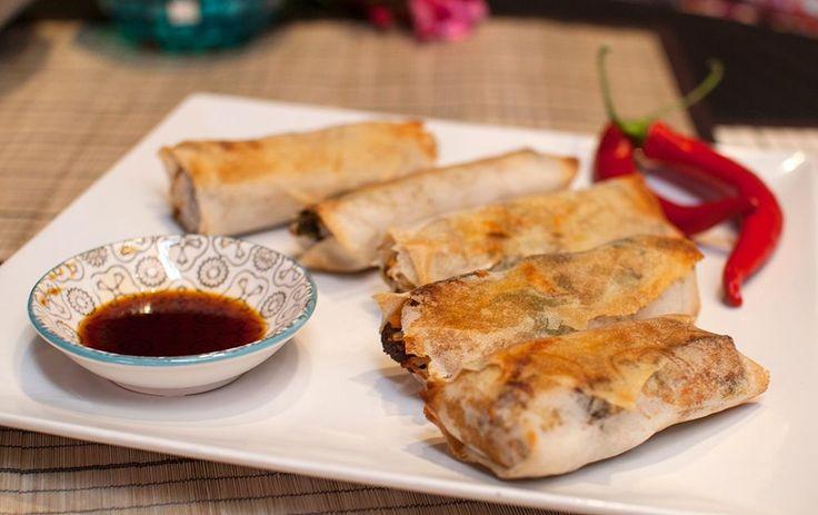 Ovnsbakte vårruller med tofu og bønnespirer