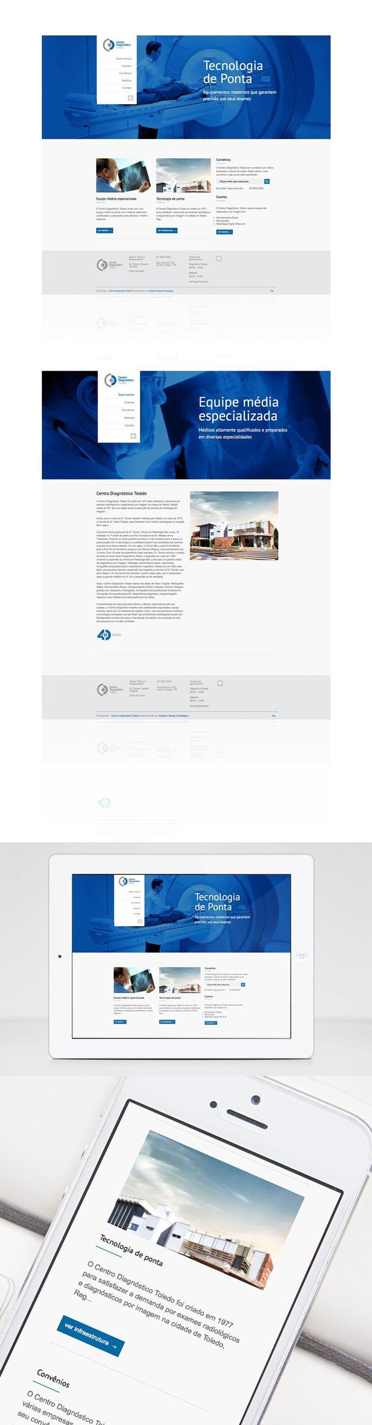 Projeto de web design responsivo. Site do Centro Diagnóstico Toledo desenvolvido pela Kadabra Design Estratégico.