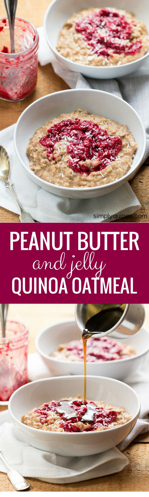 PEANUT BUTTER + JELLY QUINOA OATMEAL -- this is an amazingly easy and delicious breakfast that even the most serious of adults will love (it brings back all those childhood memories of the crustless PB+Js from my lunchbox). And it's also gluten-free + vegan too!