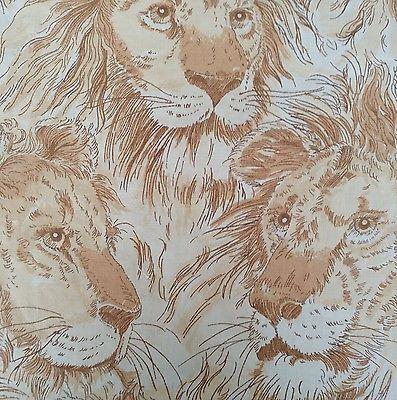 Fabric w Lions Brown Beige Tan Safari Africa Cotton