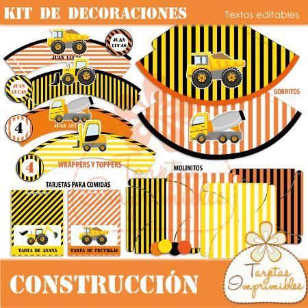 Kit de decoraciones Construcción $ 60.0 - Tarjetas Imprimibles: gorritos, papelesa decorados, wrappers para cupcakes, tarjetas para comidas, etc...