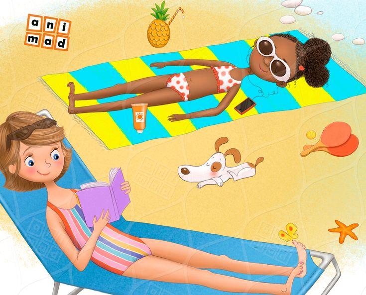 Hello summer kids clipart instant download scene