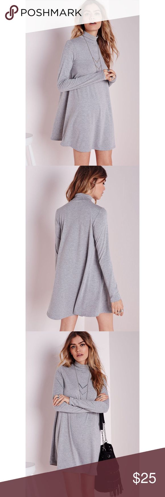 Roll neck long sleeve jersey swing dress ▫️Grey swing dress ▫️Luxe long sleeves ▫️Roll neck ▫️95% viscose 5% elastane  ▫️US size 4 ▫️Please refer to Missguided size chart: https://www.missguidedus.com/size_guide/ 📷: additional photos available upon request 💵: reasonable offers will be considered Missguided Dresses
