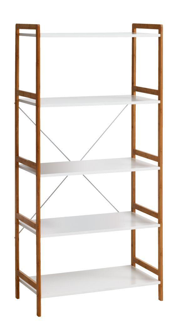 Etajeră BROBY 5 rafturi bambus/alb | JYSK