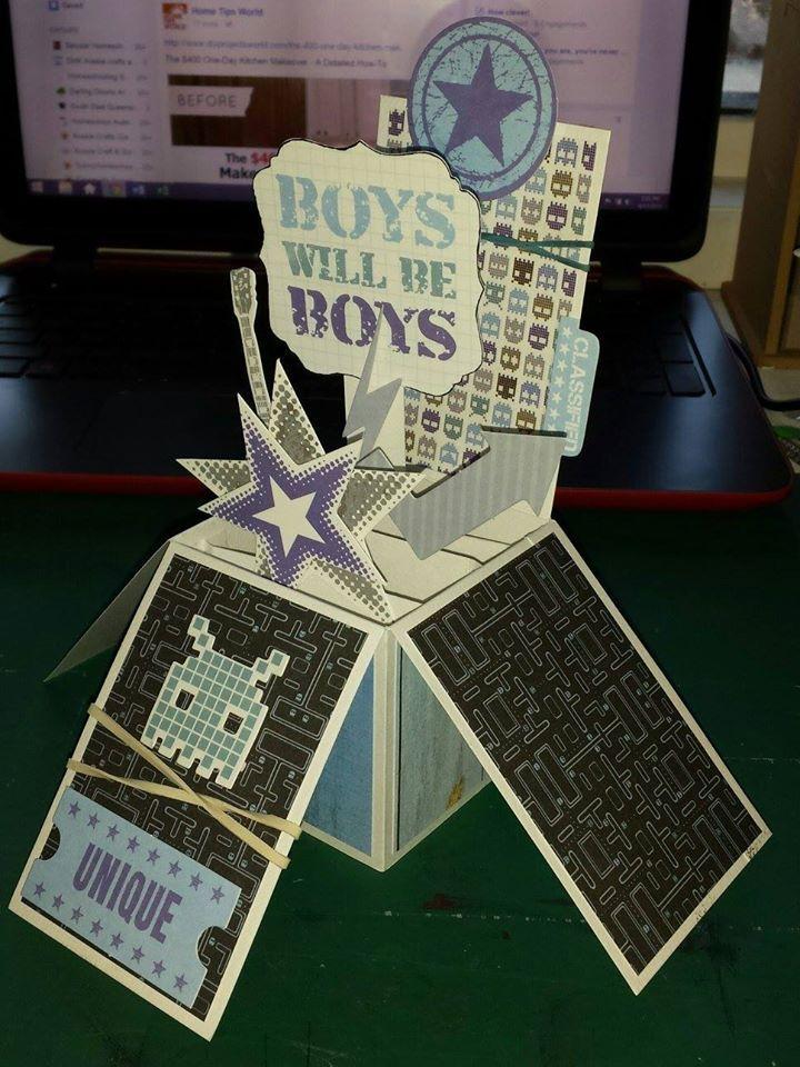 Exploding Box Card - Kaisercraft Off The Wall collection ~Karyn Watton