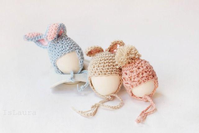 Uova con cappellino a uncinetto Eggs hat easter crochet