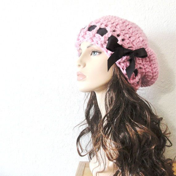 d0f676b1ad2 Items similar to School Girl Hat - Crocheted Beret in Blossom Pink with Black  Grosgrain Ribbon on Etsy