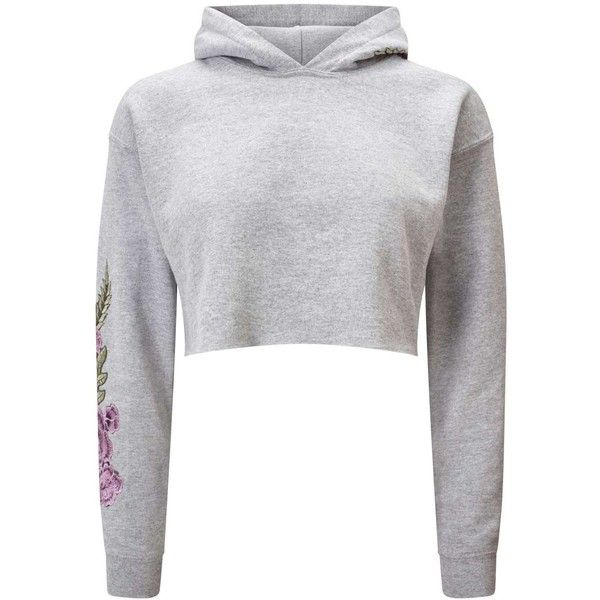 Miss Selfridge PETITE Crochet Cropped Hoodie (799.620 IDR) ❤ liked on Polyvore featuring tops, hoodies, petite, light grey, hooded pullover, petite hoodies, cut-out crop tops, flower hoodie and crochet crop top