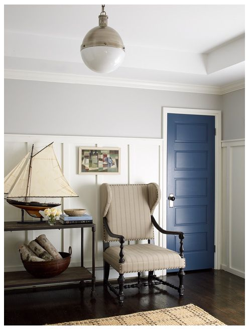 Benjamin Moore Stonington Gray has a touch of green, and is just a hair lighter than Benjamin Moore Silver Chain.
