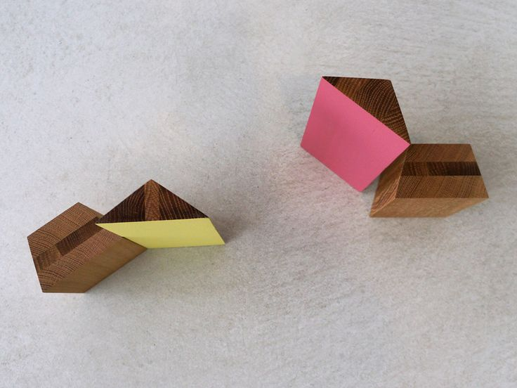 Sky Tower by Studio Brovhn. Solid oak. Pink and yellow sets. Lacquer and natural stained finishes. www.studiobrovhn.com #studiobrovhn #wood #accessory