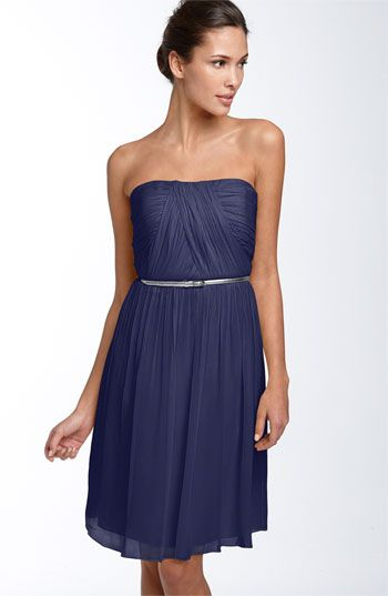 Donna Morgan Belted Chiffon Dress $158.: Chiffon Dress Bridesmaid, Navy Bridesmaid, Parties Dresses, Bridesmaid Dresses, Morgan Belts, Bridesmaids Dresses, Chiffon Dresses Bridesmaid, Belts Chiffon, Midnight Blue Dresses