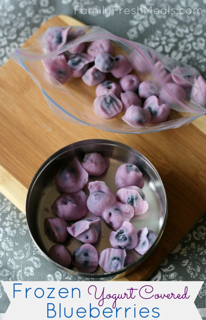 Could use cherries i would pit/ Frozen Yogurt Covered Blueberries - Healthy snack! via Family Fresh Meals