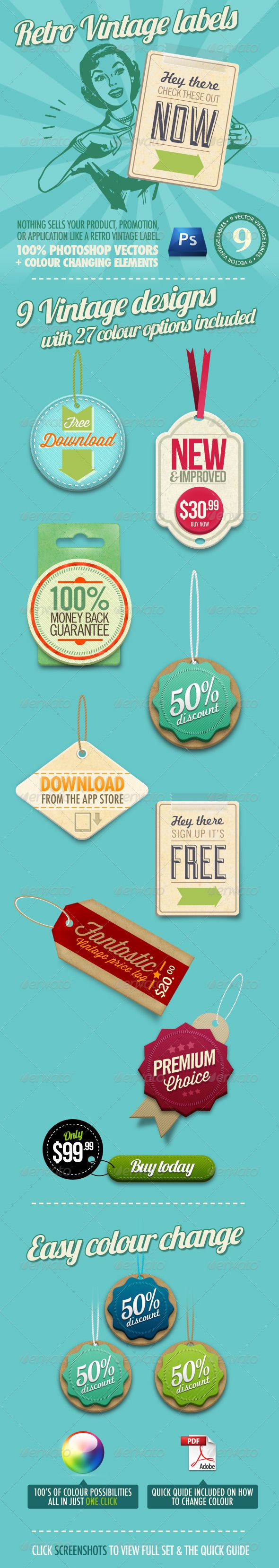 Retro Vintage Labels: Style, Button, Resource, Awesome Badges, Graphics, By