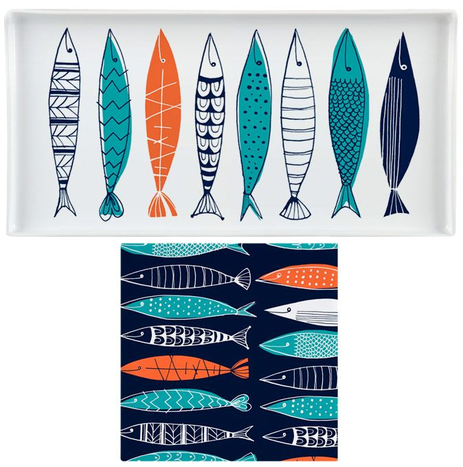 Margaret Berg : fish / nautical: Sardines Platter and Napkins