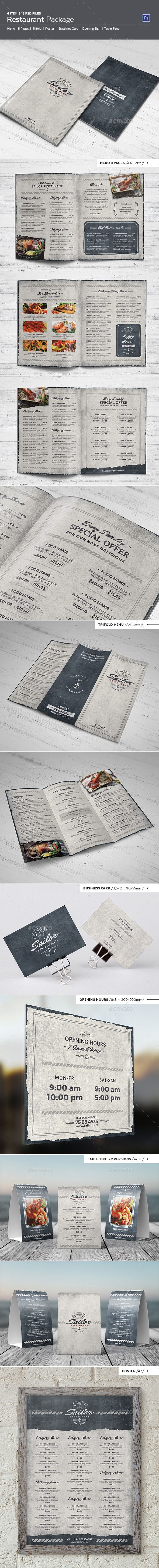 Sailor Restaurant Package Menu PSD Template #design Download: http://graphicriver.net/item/sailor-restaurant-package/13046237?ref=ksioks