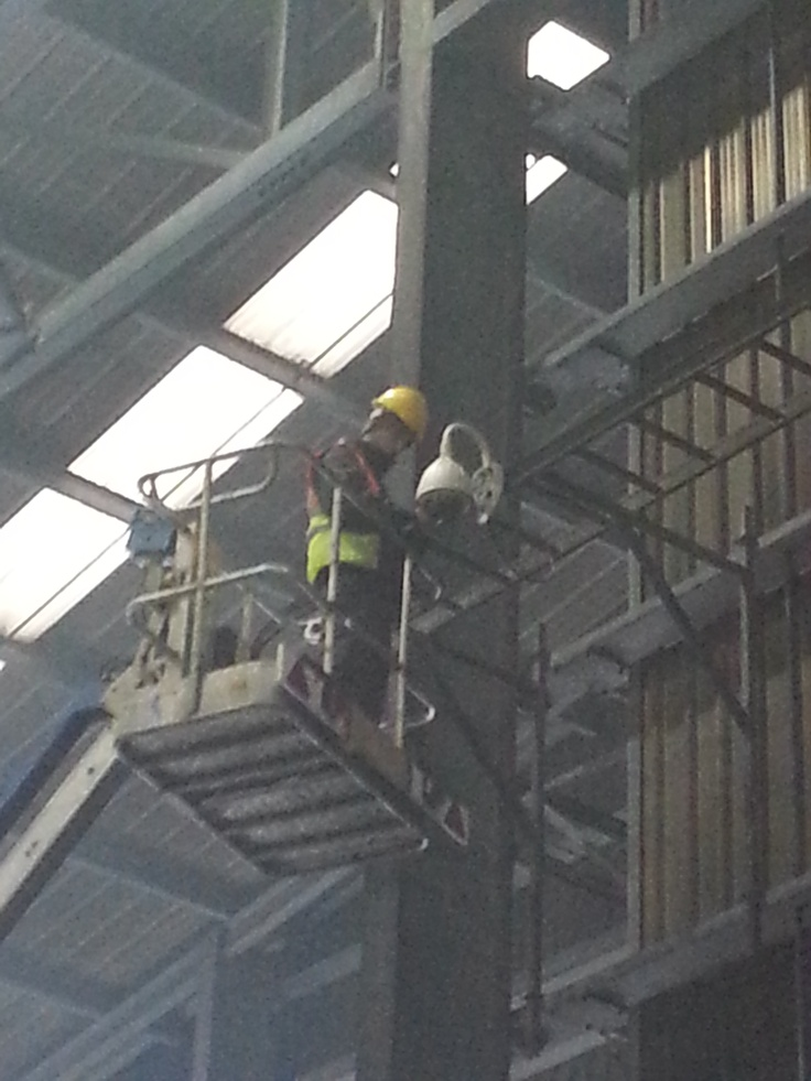 Working at height  http://mintsecurity.co.uk/mint-security-chosen-by-large-sheffield-food-recycling-plant-for-cctv-installation/