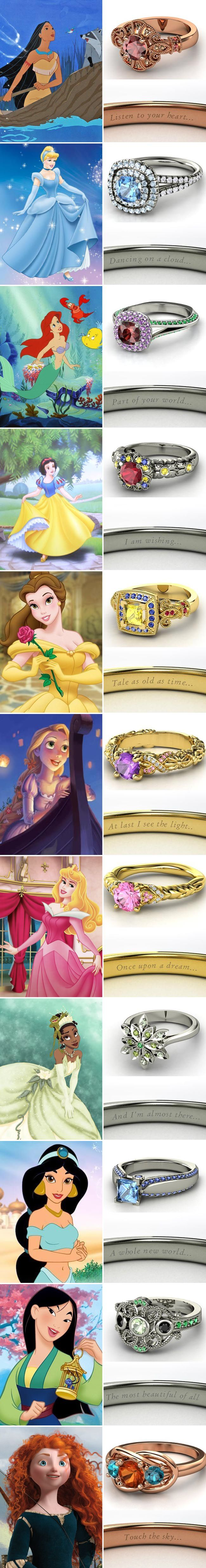 Disney princess wedding rings and more ideas for diehard #DisneyPrincess fans! I want them all!!!