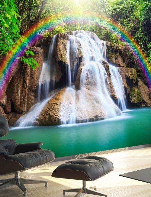 Carta da Parati Cascata e Arcobaleno Carta da Parati Fotomurale Tema Paesaggi